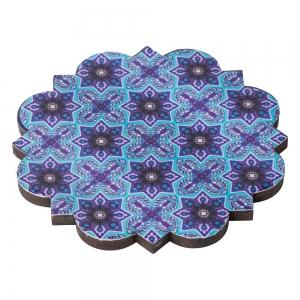 WOODEN COASTER - Tile Print 10cm