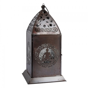 LANTERN - Buddha Iron with Glass 13cm x 27cm