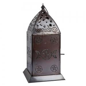 LANTERN - Triple Moon Pentacle Iron with Glass 13cm x 27cm