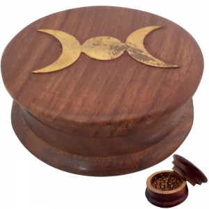 HERB GRINDER - Triple Moon Wooden 3cmx8cm