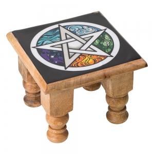 ALTAR TABLE - Pentacle Print 11cm x 15cm x 15cm