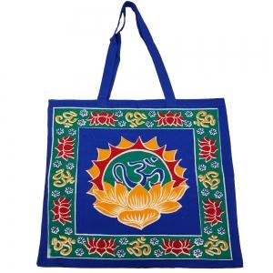 "Om Lotus Blue Tote Bag 18""x18"""