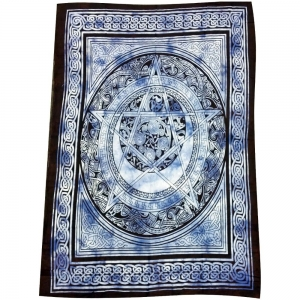 Celtic Pentacle Blue Tapestry 140cm x 200cm