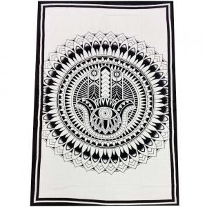 Hand of Fatima White Tapestry 140cm x 200cm
