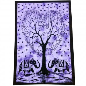 Heart Tree Elephant Purple Tapestry 140cm x 200cm