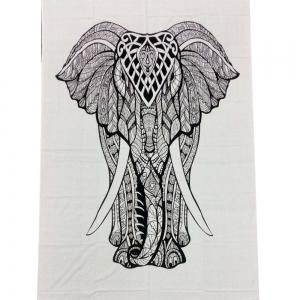 Elephant White Tapestry 140cm x 200cm