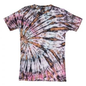T SHIRT - Pink Black Tie Dye L