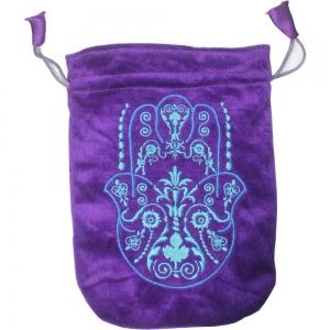 Hands of Fatima Purple Velvet Bag