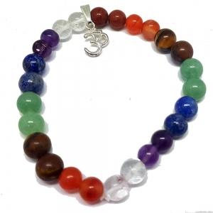 7 Chakra Bracelet with Om Charm