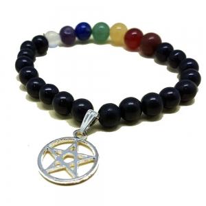 7 Chakra Obsidian Bracelet with Pentacle