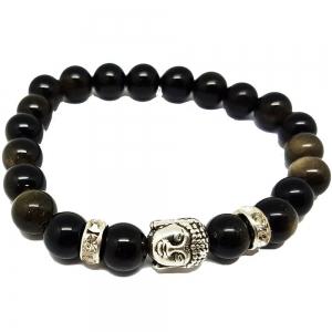 Black Obsidian Buddha Bracelet