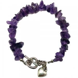 Amethyst Chips Bracelet with Heart