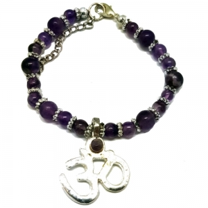 Amethyst Bracelet with Om