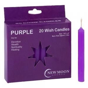 Wish Candle 1.25cm x 10cm (20 Pack) Purple